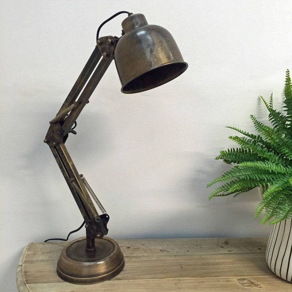 Vintage Style Burned Antique Bronze Manson Angle Table Lamp - The Farthing