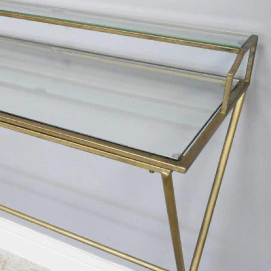 Vintage Gold & Glass Halstock Desk