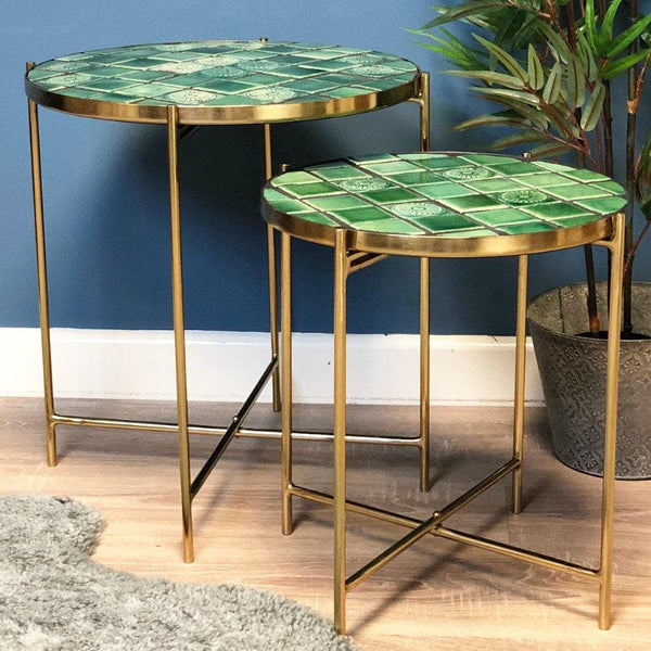 Vintage Inspired Gold Tiled Table Set | The Farthing