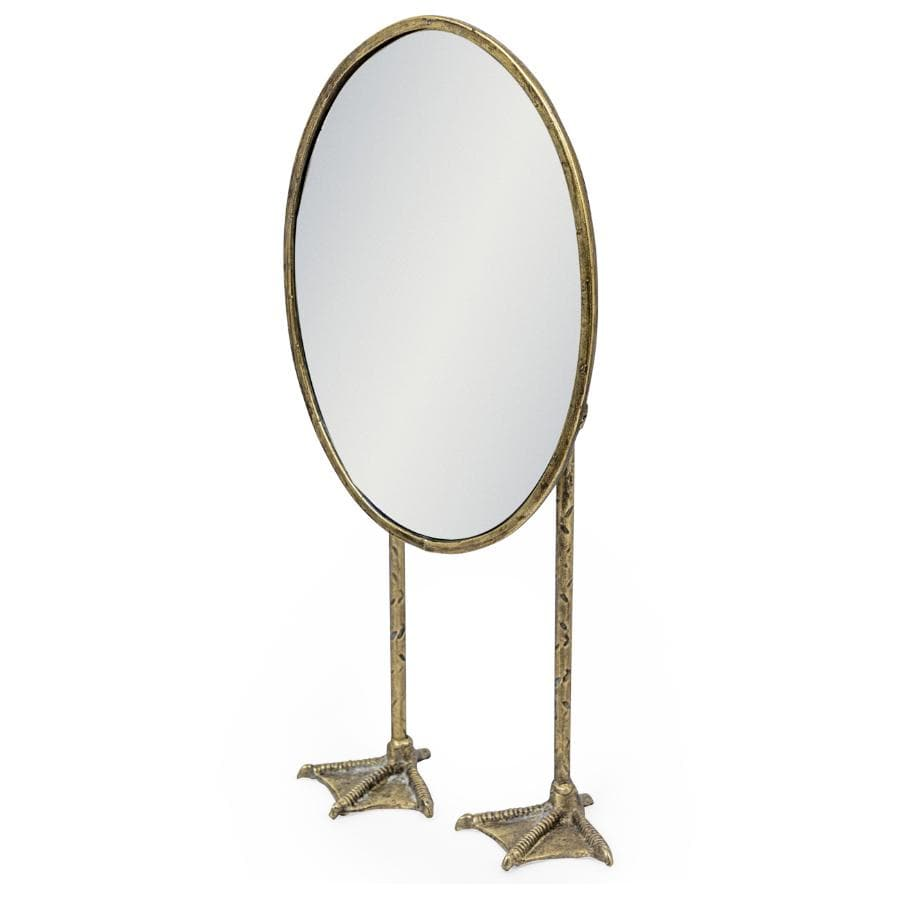 Vintage Pewter Oval Duck Table Mirror at the Farthing