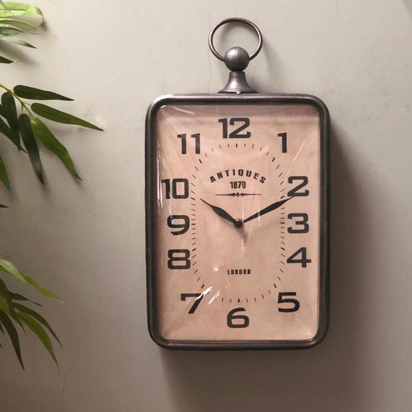 Vintage Rectangle 1870 Wall Clock at the Farthing