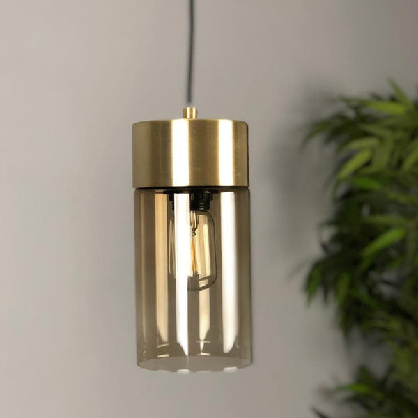 Warm Grey Glass Cylinder Pendant at the Farthing