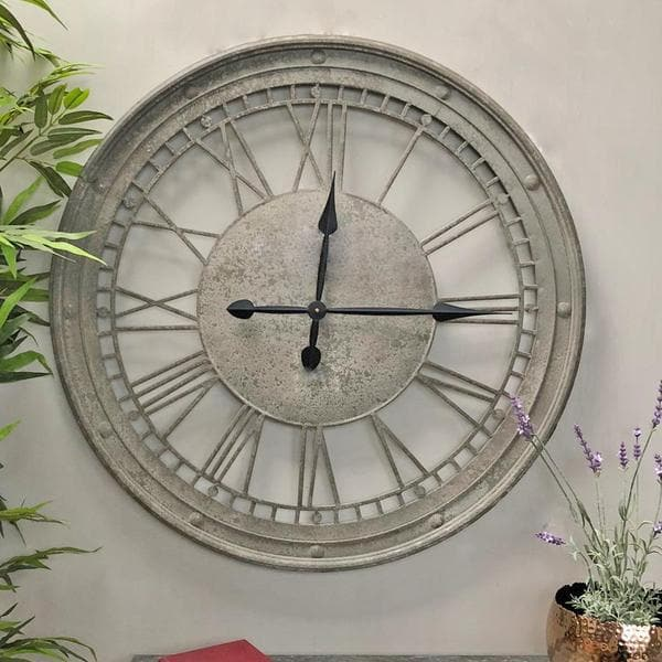 Weathered Metal Cut Out Clock | Farthing  1