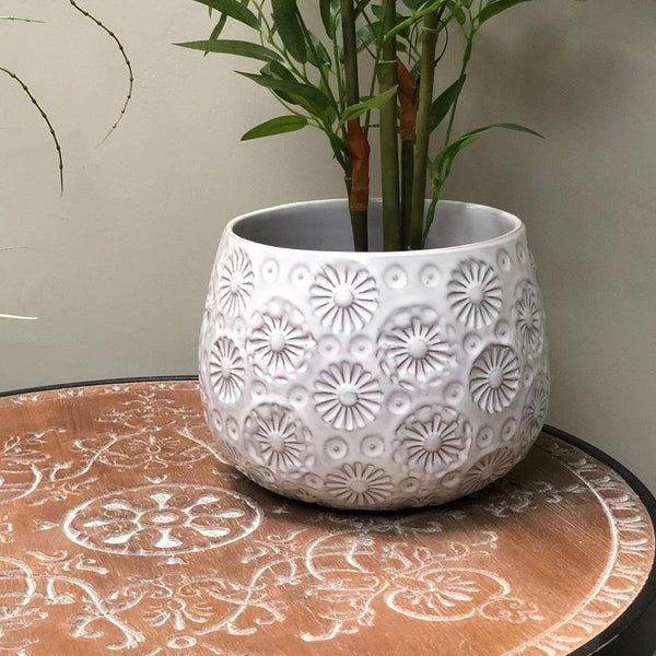 White Ceramic Daisy Flower Pot | The Farthing