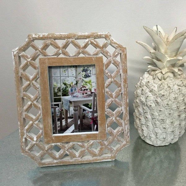 White Washed Carved Photo Frame - Lattice - The Farthing