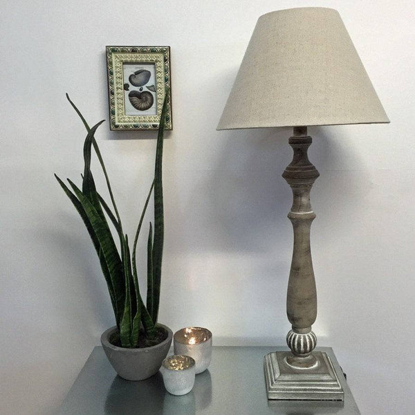 White Washed Tall Wooden Table Lamp - The Farthing