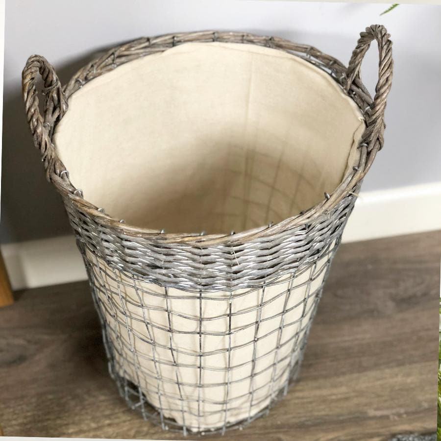 Wicker Topped Metal Laundry Basket at the Farthing