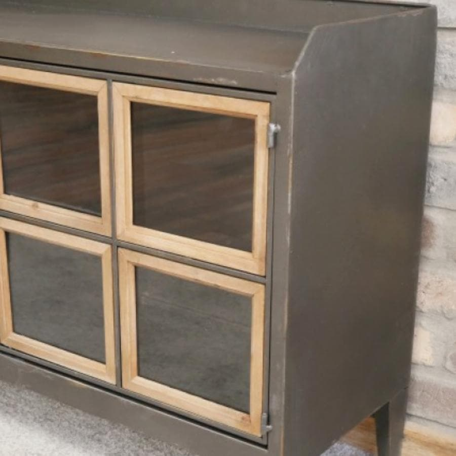Wide Metal and Wood Floor Cabinet - Glazed at the Farthing
