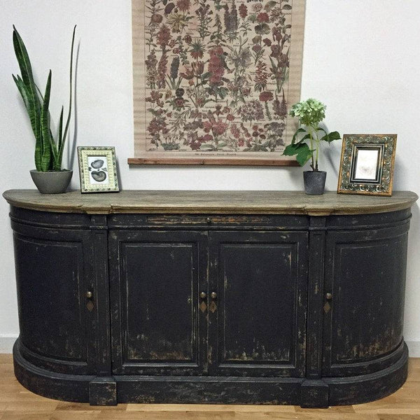 Reclaimed Oak Cabinet Sideboard in Distressed Black - The Farthing