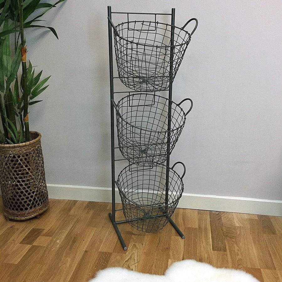 Wire 3 Basket Tiered Storage - Large - The Farthing
