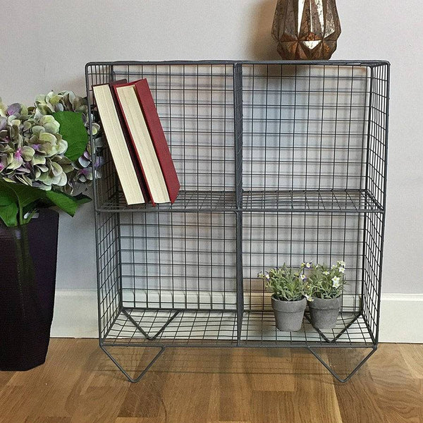 Wire 4 Hole Shelf Unit - Charcoal Grey - The Farthing - 1