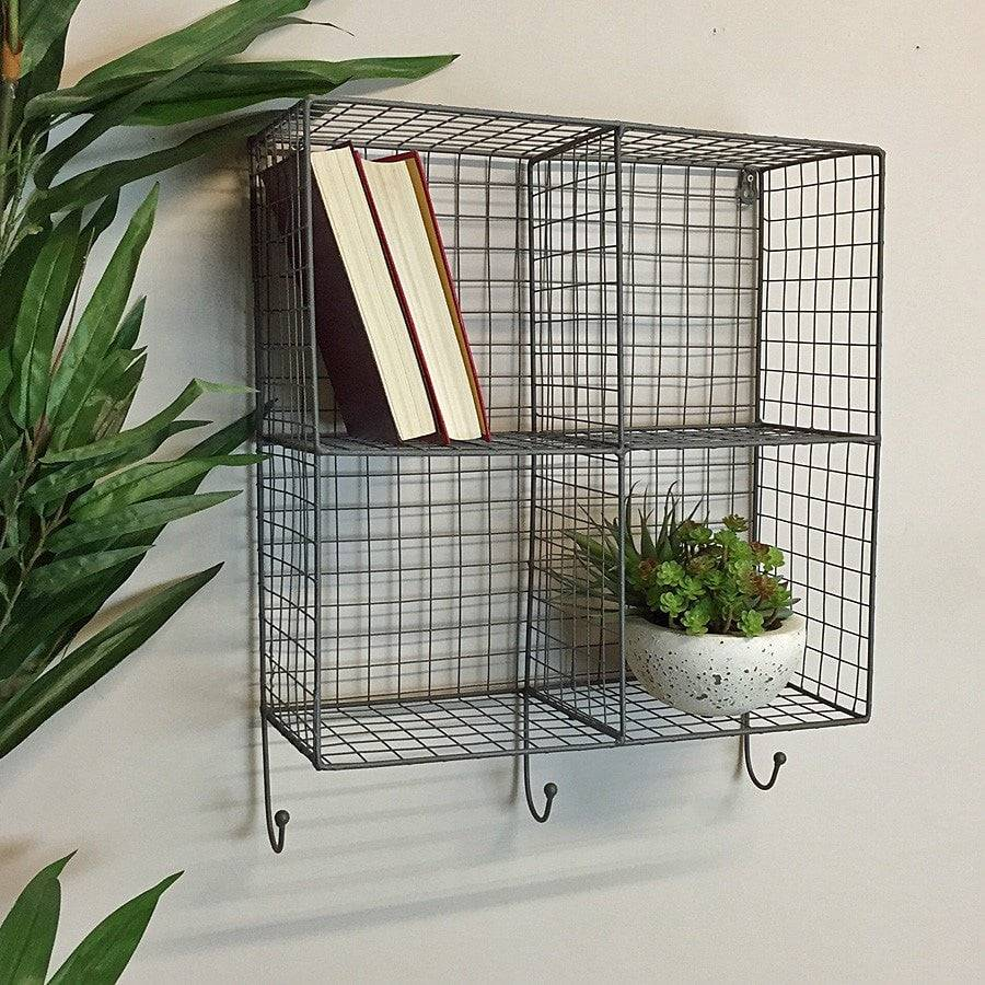 Wire Box Shelf Rack with Hooks at the Farthing