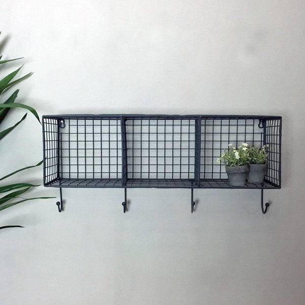 Wire Box Shelf Rack with Hooks - The Farthing