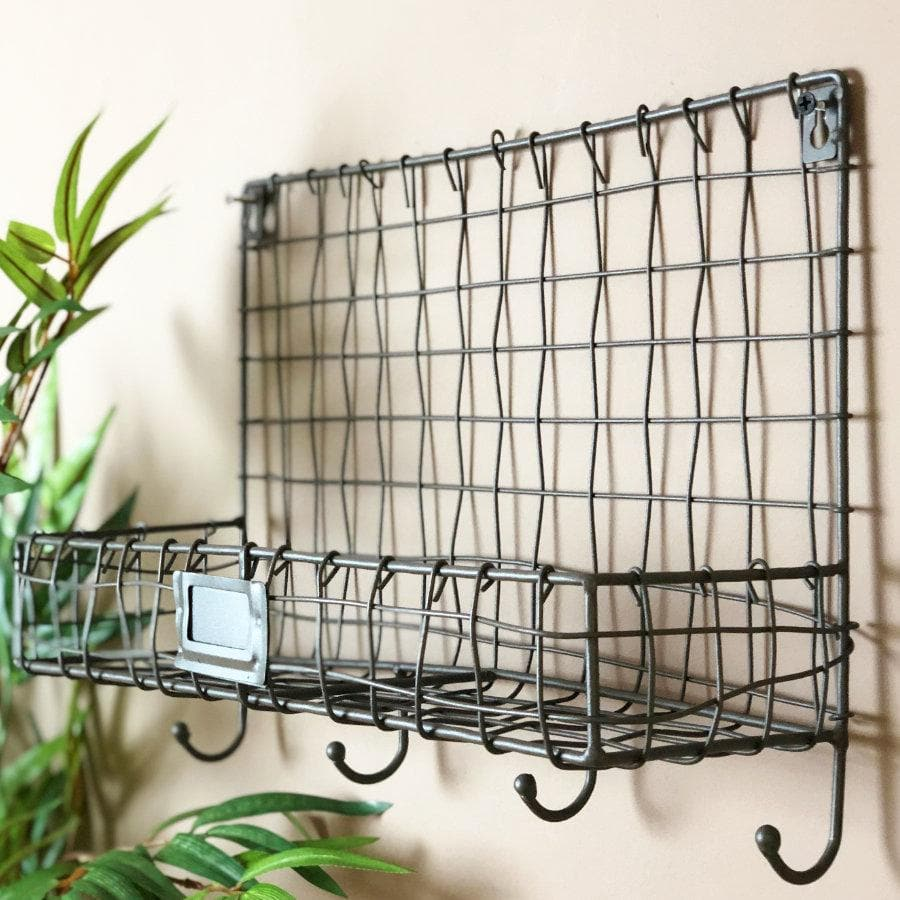 Wire Single Shelf Storage with Hooks at the Farthing