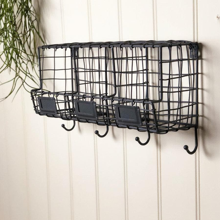 Wire Three Box Storage Shelf with Hooks at the Farthing