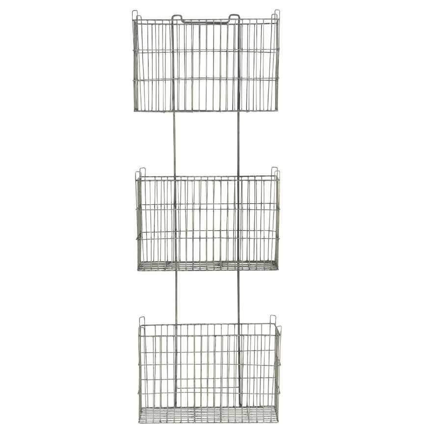 Wirework Metal Tiered Wall Storage Basket Unit