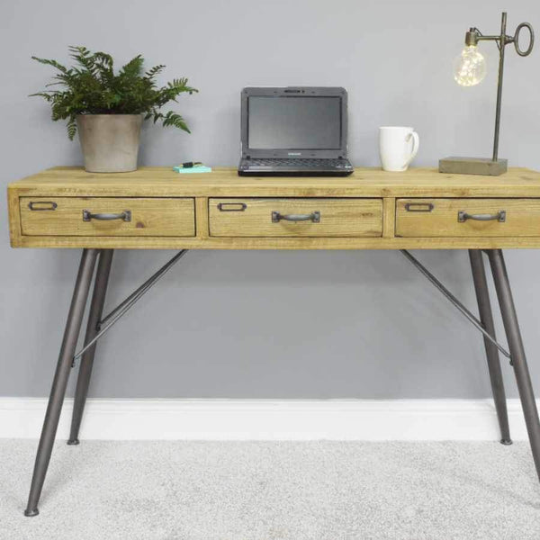 Wood and Metal Legged Desk