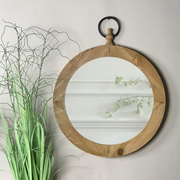 Wooden Round Pocket Watch Wall Mirror at the Farthing