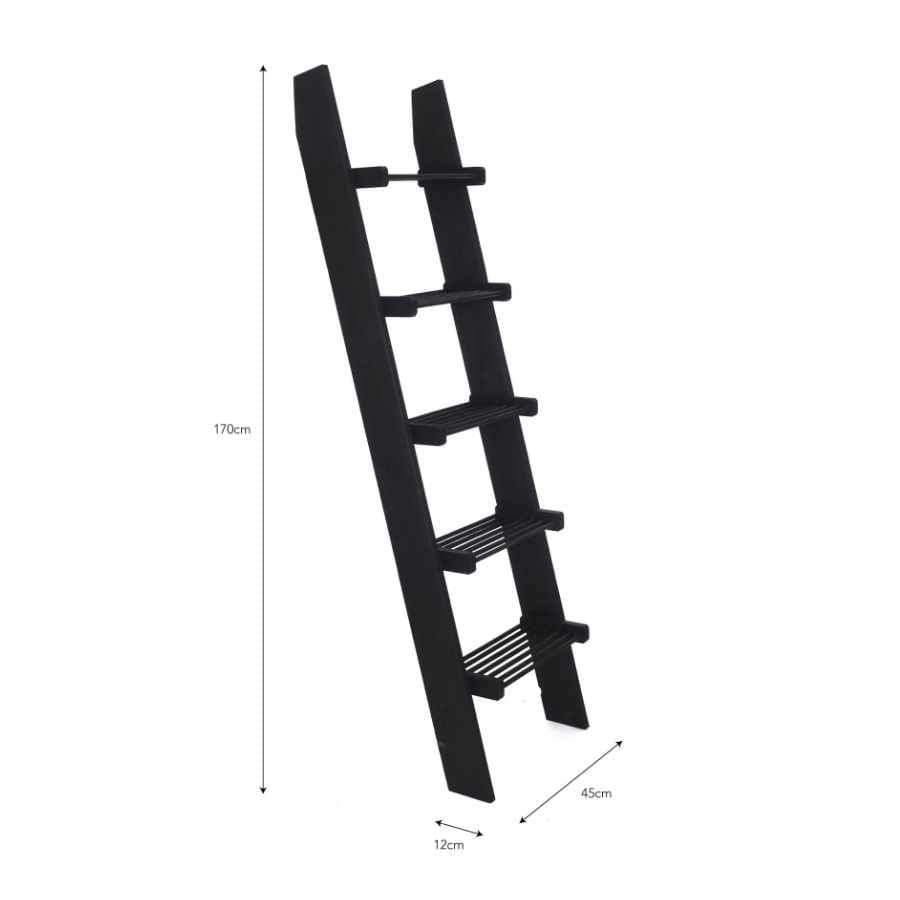 Wooden Slatted Shelf Ladder - Black Stain