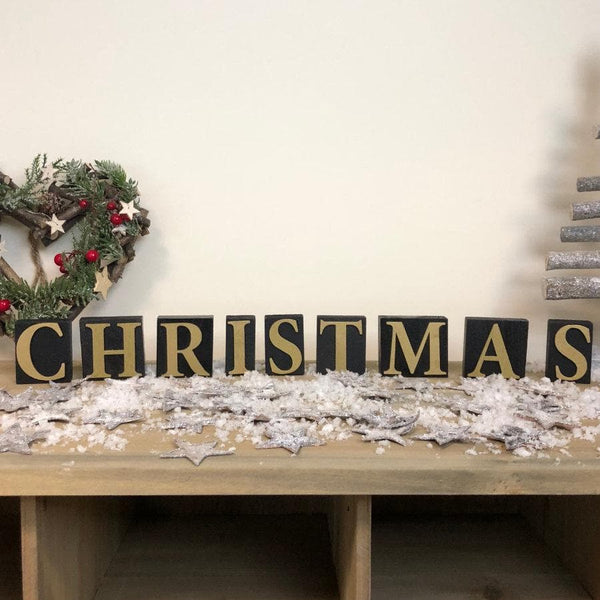 Wooden Christmas Letter Blocks - Black & Gold | The Farthing