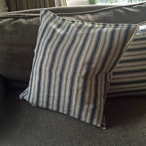 Woven Square Stafford Blue Herringbone Cushion with Feather inner - The Farthing  - 1