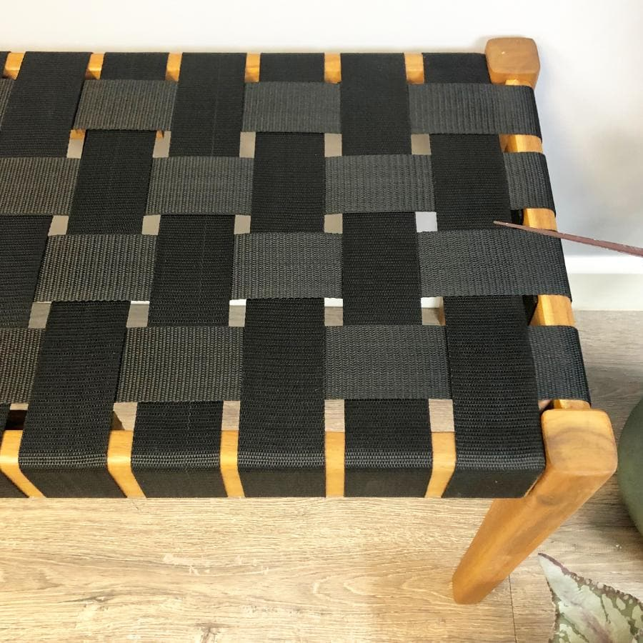 Woven Black Strap Bench at the Farthing