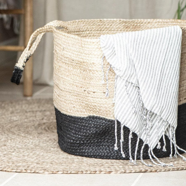 Woven Jute Laundry Basket at the Farthing 1