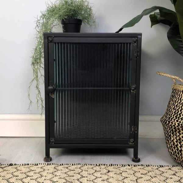 Wyndham Glass & Black Metal Side Cabinet | The Farthing