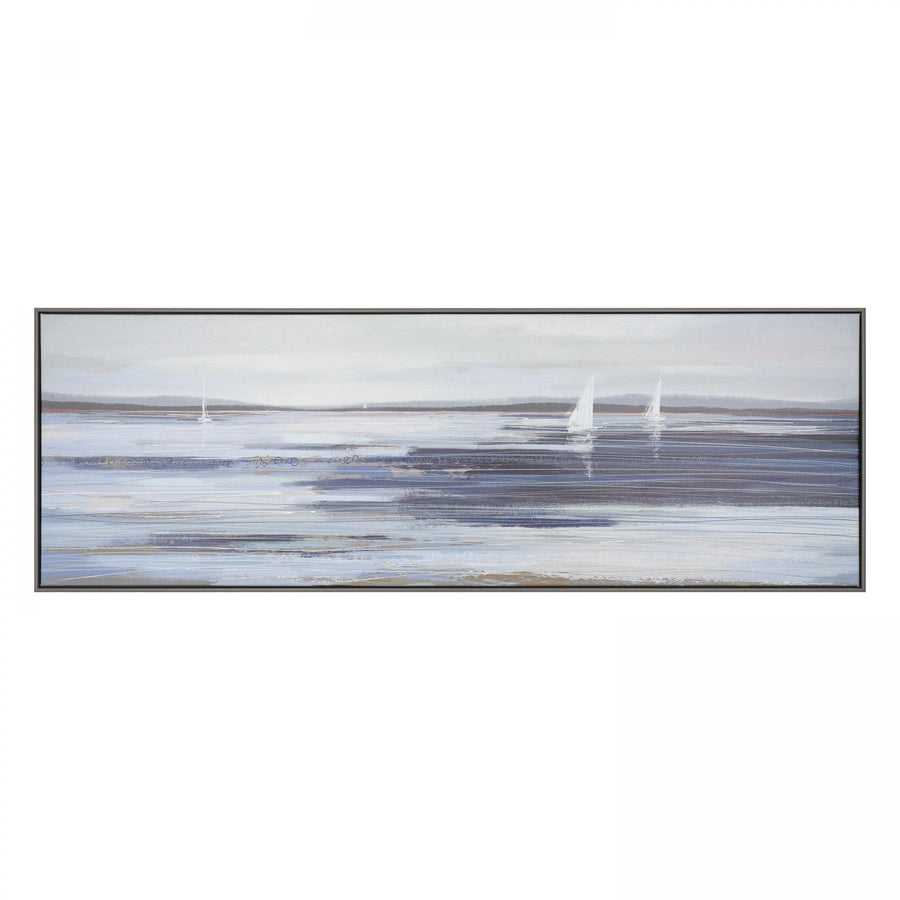 Across The Sand Banks Framed Canvas
