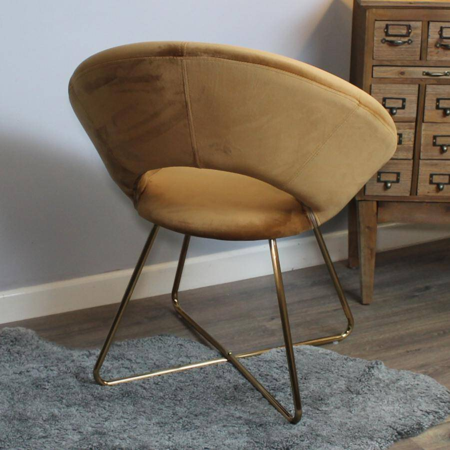 Circular Velvet Caramel Chair with Open Back | Farthing Chairs