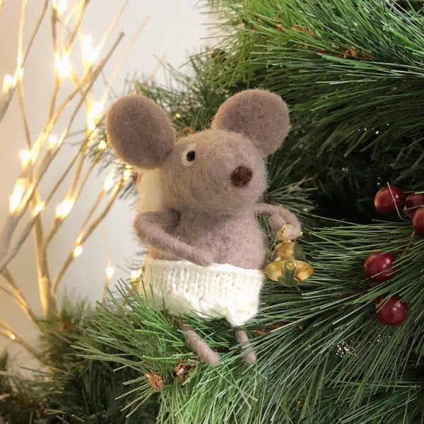 Fluffy Grey Felt Angel Mouse at the Farthing 1