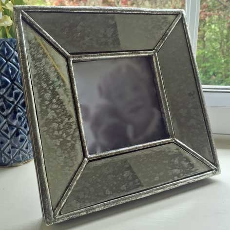 Silver Art Deco Mirrored Distressed Picture Frame - The Farthing