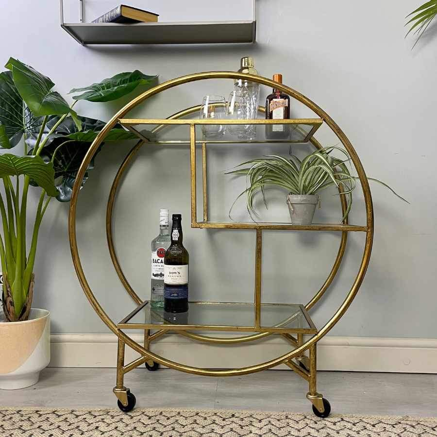Distressed Gold Art Deco Drinks Trolley | Farthing