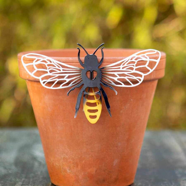 Colourful Metal Bee Silhouette Pot Hanger
