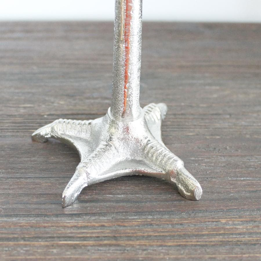 Silver Duck Foot Pillar Candle Holder | Farthing