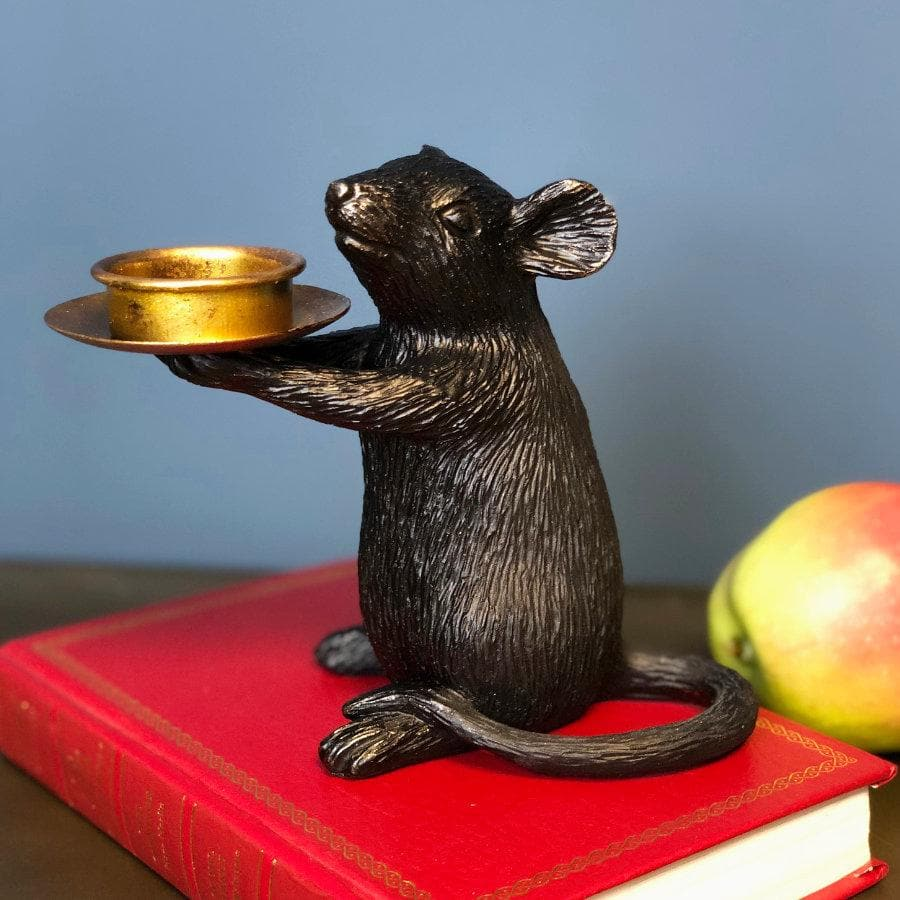 Mouse Tea Light Holder - Black Gold at the Farthing