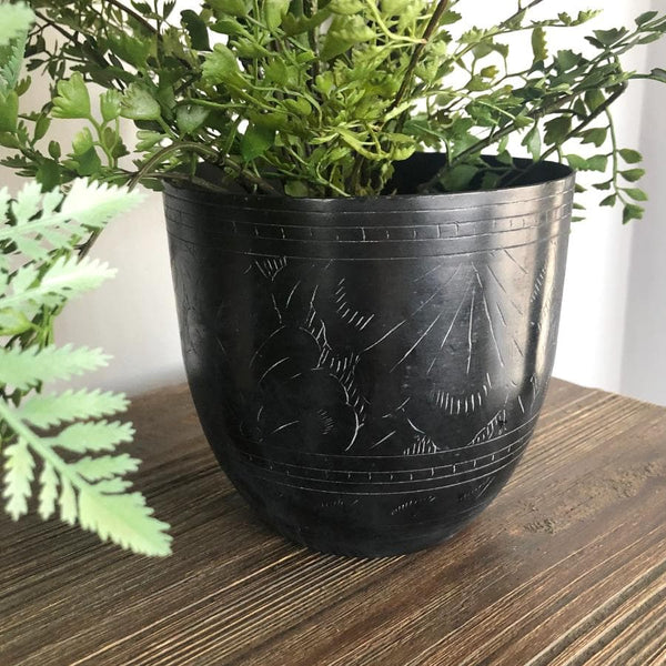 Distressed Black Metal Pot
