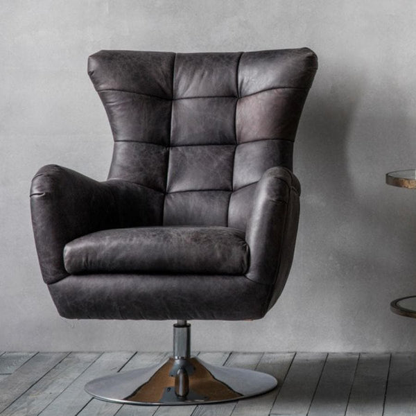 Vintage Black Leather Swivel Chair