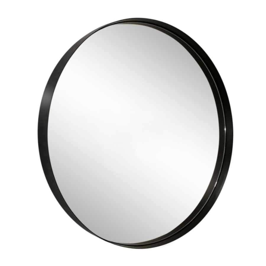 Black Slim Frame Round Metal Mirror