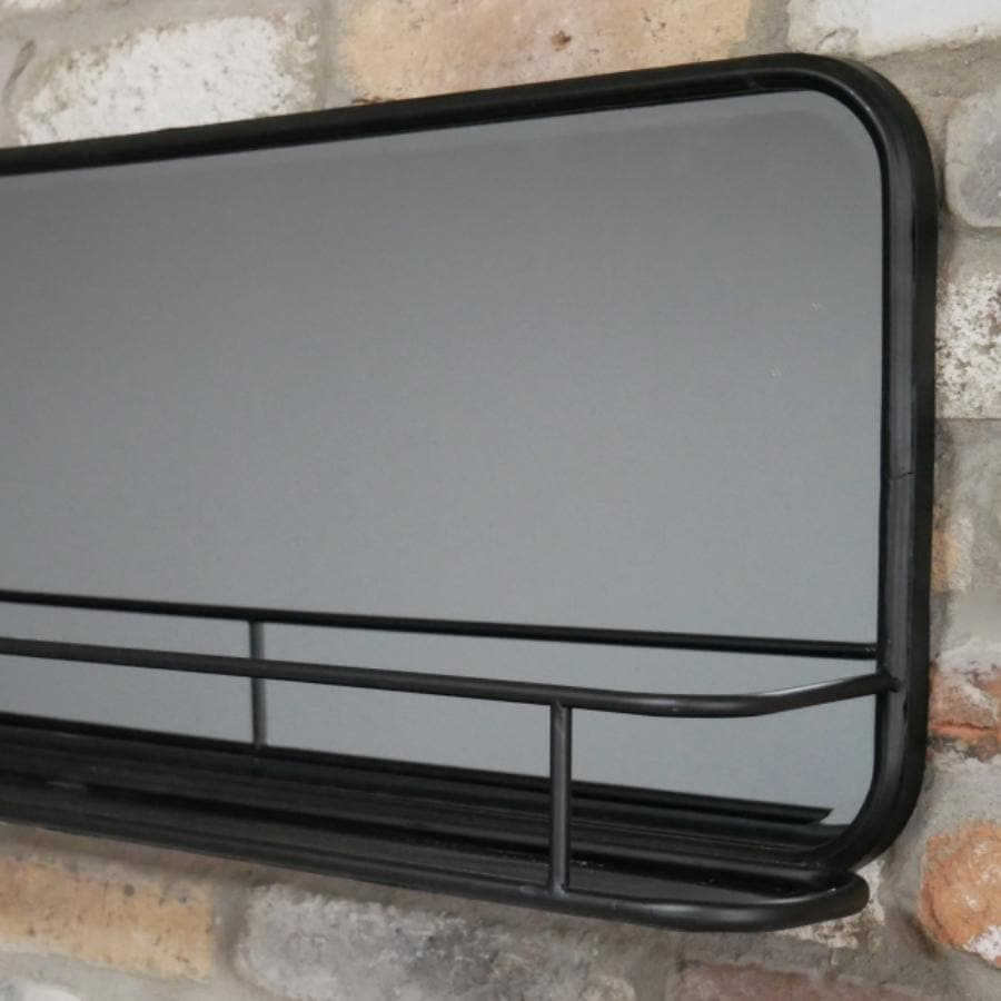 Industrial Black Metal Wall Mirror Shelf | Farthing