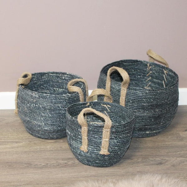 Set of 3 Rustic Blue Grey Baskets at the Farthing 3