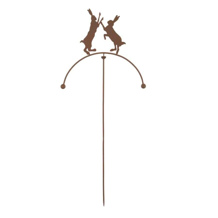 Decorative Balancing Boxing Hares Garden Stake