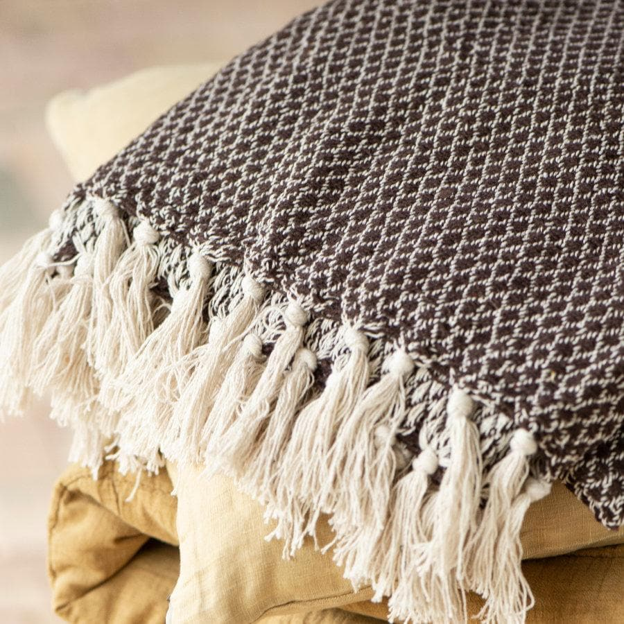Dark Brown Cream Loomed Cotton Throw at the Farthing