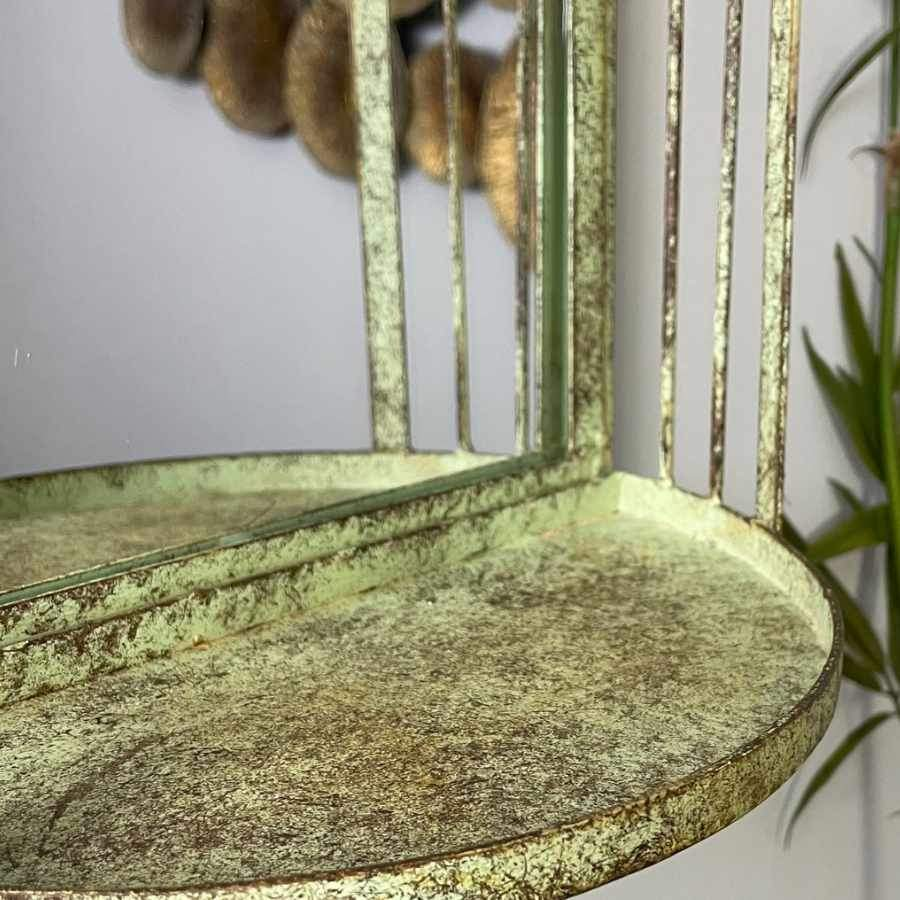 Vintage Green Metal Shelf Garden Mirror