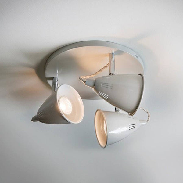 Trio of Cavendish Ceiling Spots - Circle - Spot Lights in Chalk - The Farthing
