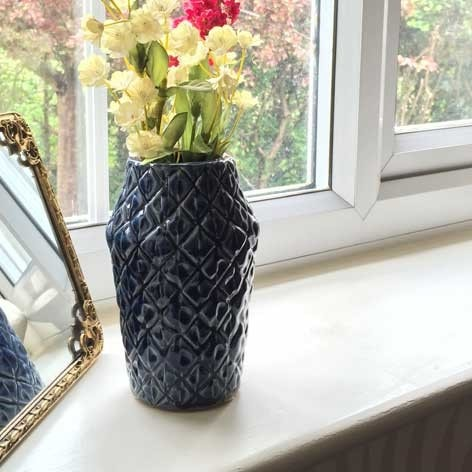 Navy Blue Ceramic Diamonds are Forever Vase - The Farthing