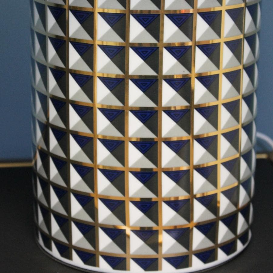 Blue & Gold Table Lamp with Shade at the Farthing 3