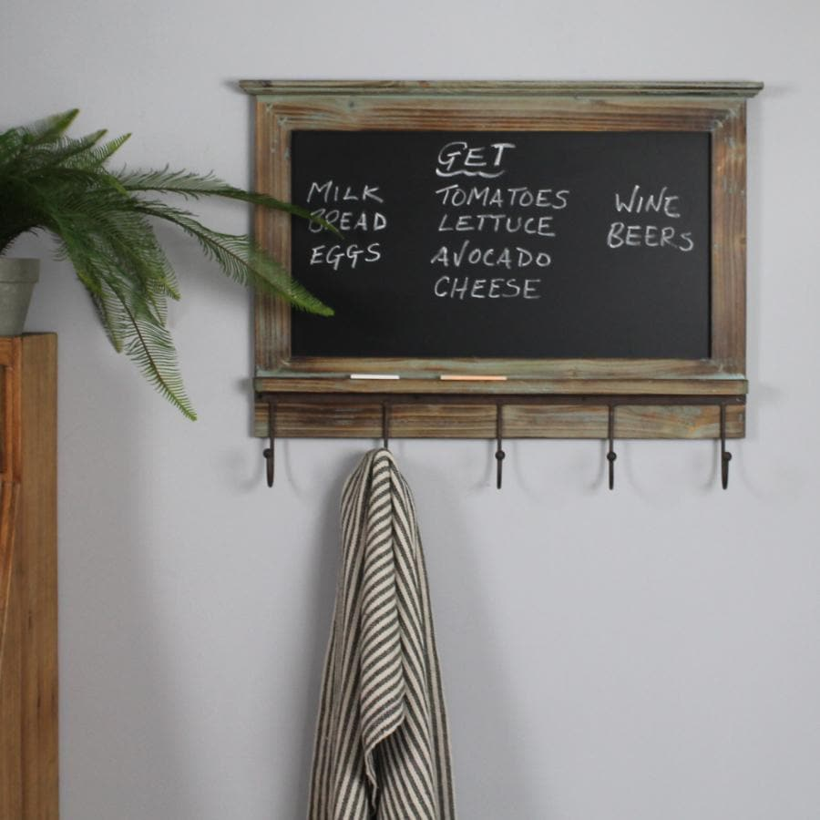 Rustic Wooden Chalk Board with Hooks at the Farthing 1