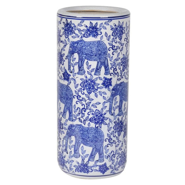 Blue and White Ceramic Umbrella Stand at the Farthing