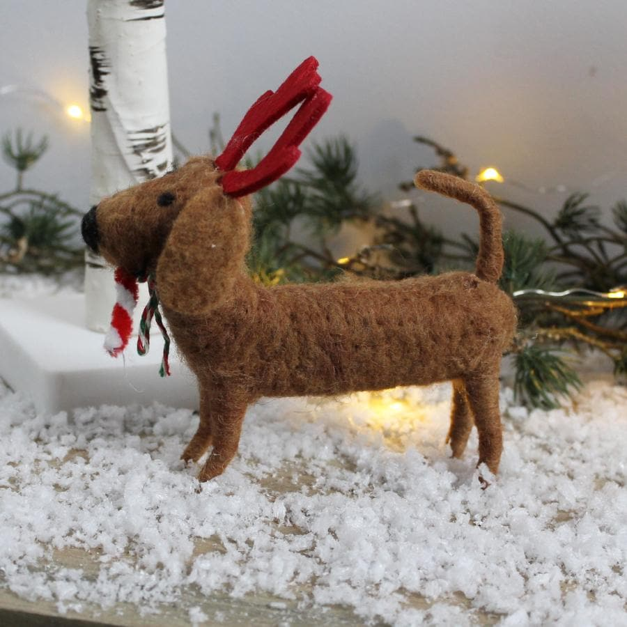 Felt Christmas Sausage Dog with Antlers 1